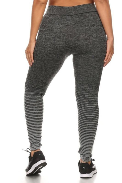 Heather Grey Ombre Fleece Legging - Plus Activewear Leggings