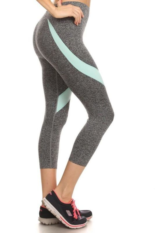 Heather Grey/mint Activewear Cropped Leggings Activewear Leggings