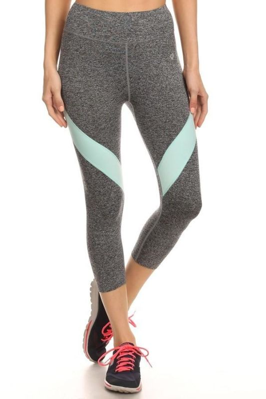 Heather Grey/mint Activewear Cropped Leggings S Activewear Leggings
