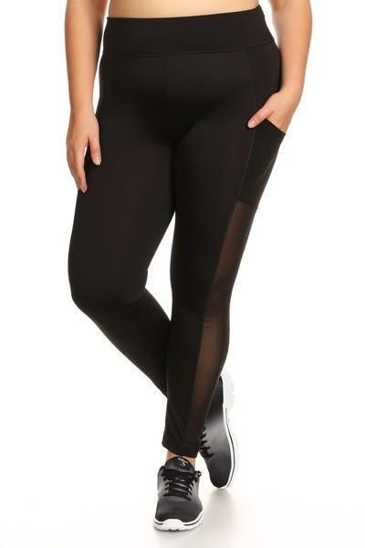 High Waist Black Mesh Block Activewear Leggings - Plus Activewear Leggings