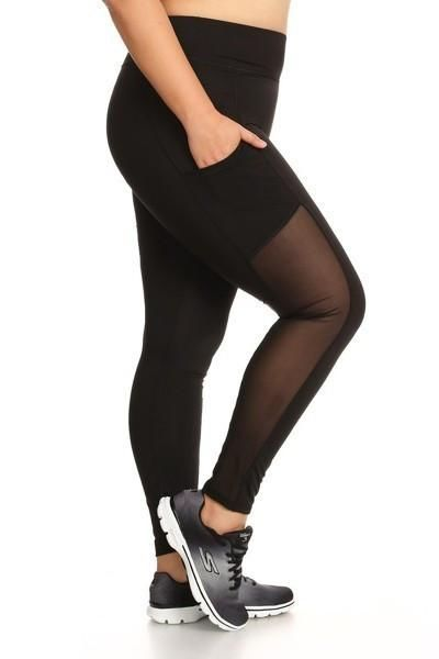 High Waist Black Mesh Block Activewear Leggings - Plus 1Xl Activewear Leggings