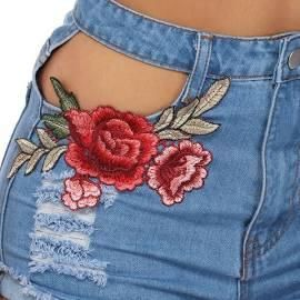 High Waist Embroidery Hollow Pocket Denim Shorts Medium Blue / M Shorts