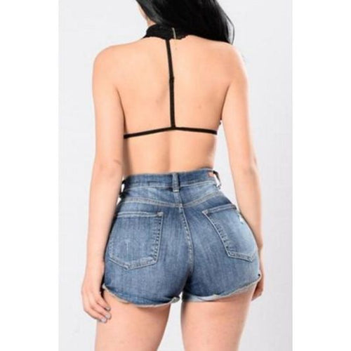 High Waist Medium Denim Cuffed Shorts Shorts