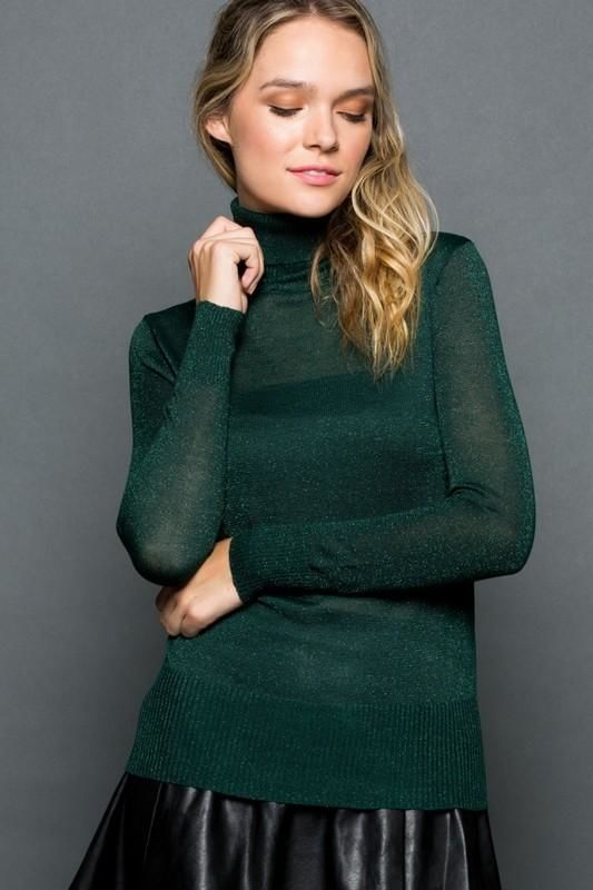 Jade Sparkly Long Sleeve Turtleneck S(2-4) Sweater