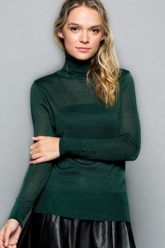 Jade Sparkly Long Sleeve Turtleneck Sweater