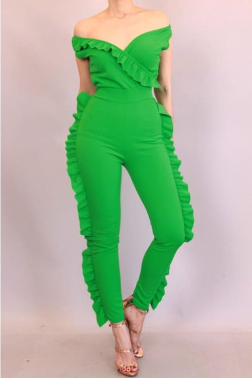 Kelly Green Ruffle Jumpsuit S(2-4) Jumpsuit
