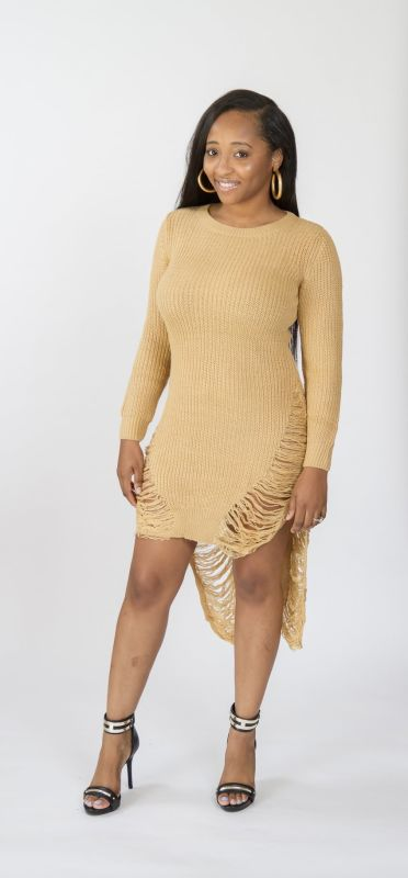 Khaki Distressed Hi-Lo Long Sleeve Sweater Dress S(2-4) Dress