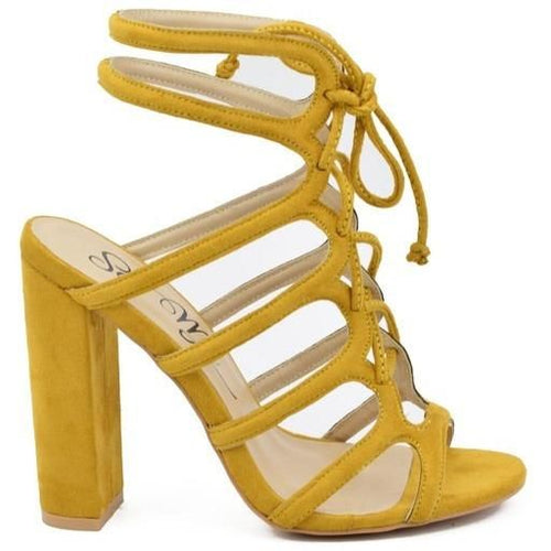Kris Suede Mustard Lace Up Block Heel Sandals - shoes