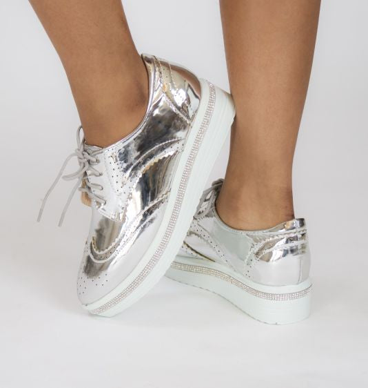 Krixie Silver Bling Platform Oxford Shoes Shoe