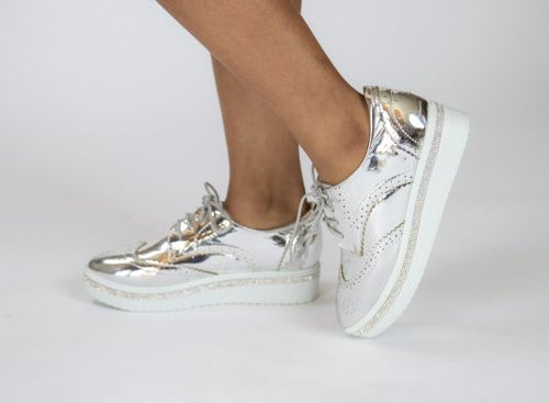 Krixie Silver Bling Platform Oxford Shoes 5.5 Shoe