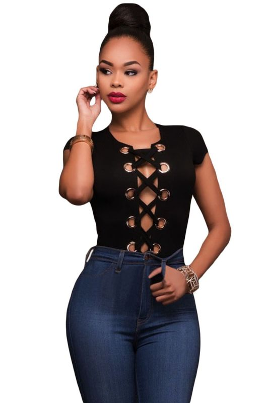 143006e6954f Lace Up Front Gold Ring Short Sleeve Bodysuit – shopslayplay.com