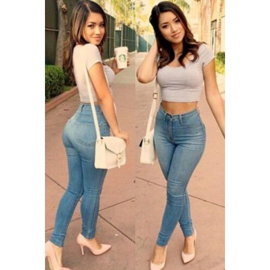 Light Blue Classic High Waist Skinny Jeans Jeans