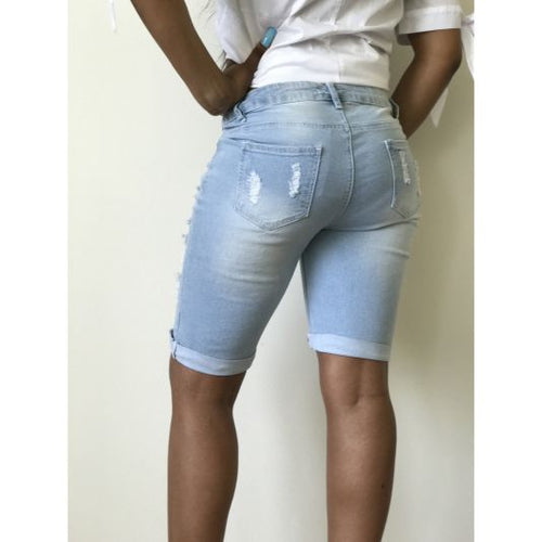 Light Blue Distressed Bermuda Shorts Shorts