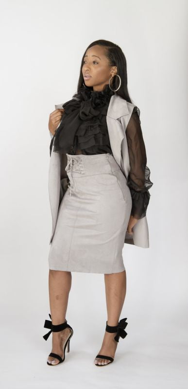 Light Grey Faux Suede Skirt Skirt