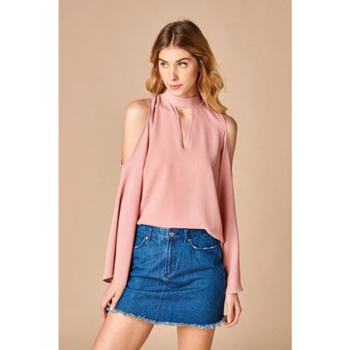 Mauve Cold Shoulder Bell Sleeve Choker Tie Neck Top Top