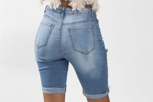 Medium Blue Ripped Distressed Denim Shorts Shorts