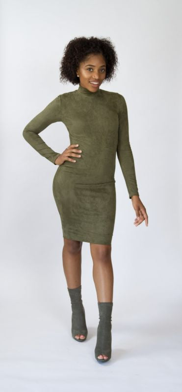 Mock Neck Olive Faux Suede Dress S(4-6)
