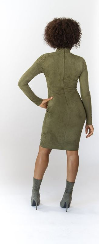 Mock Neck Olive Faux Suede Dress