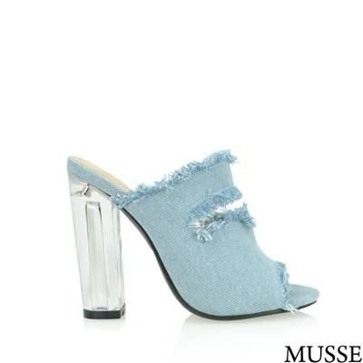 Musse Light Denim Ripped Clear Heel Sandals - shoes