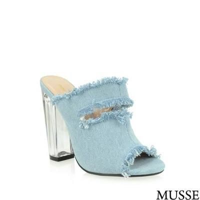 Musse Light Denim Ripped Clear Heel Sandals 5.5 Shoes