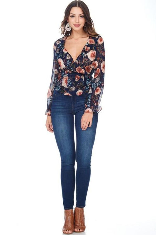 Navy Chiffon Floral Wrap Blouse Sizes: S(2-4) Top