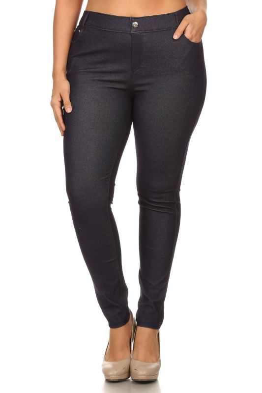 Navy Jegging Style Leggings - Plus/curvy 1Xl Pant