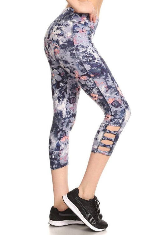 Navy & White Tie Dye Flower Print Activewear Capris Activewear Leggings