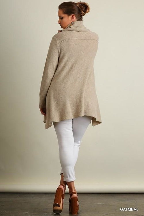 Oatmeal Sharkbite Hem Cowl Neck Sweater Plus/curvy Sweater