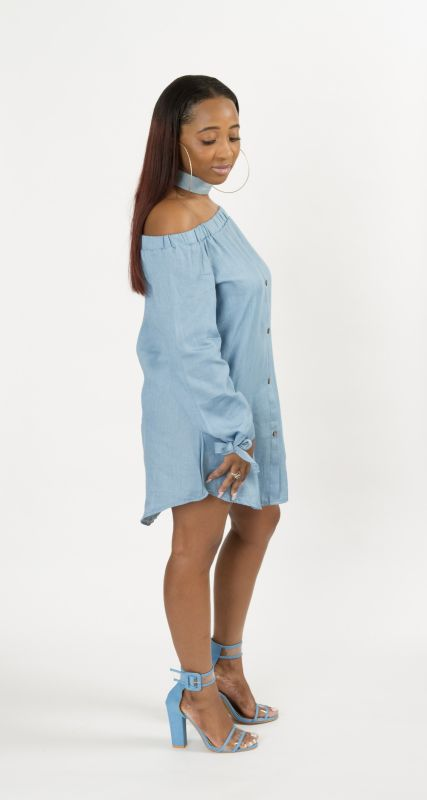 4f0028ef0244 Off Shoulder Button Down Denim Shirt Dress – shopslayplay.com