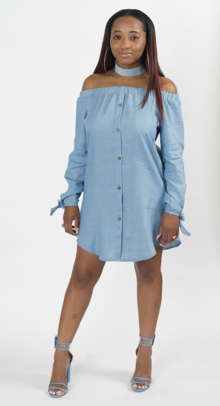0c4d4058c0fb Off Shoulder Button Down Denim Shirt Dress – shopslayplay.com