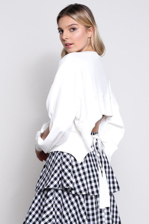 Off Split Sleeve White Open Back Velvet Top Sweater
