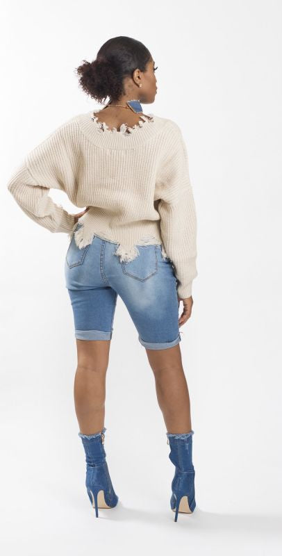 Off White Distressed Crop Sweater Top