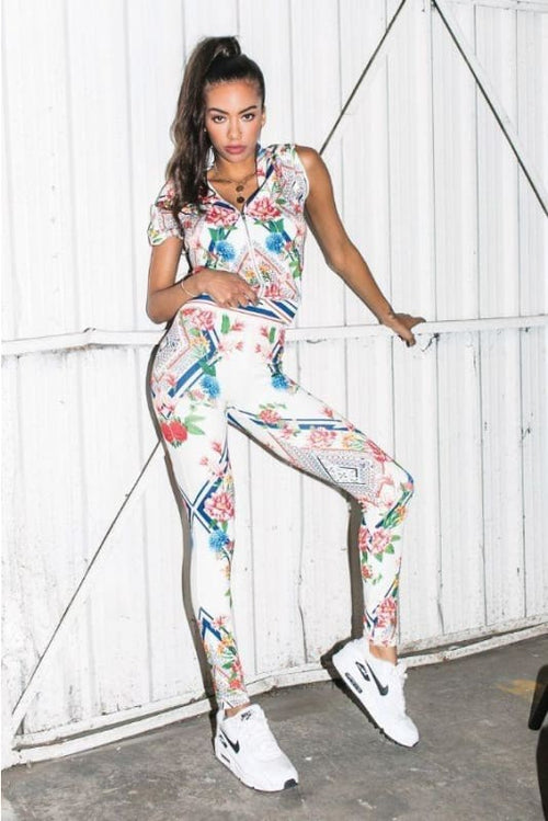 Off White Floral Activewear Set S(4-6) Activewear Set