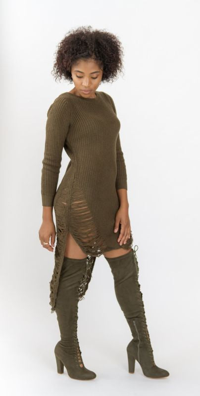 Olive Distressed Hi-Lo Long Sleeve Sweater Dress S(2-4) Dress