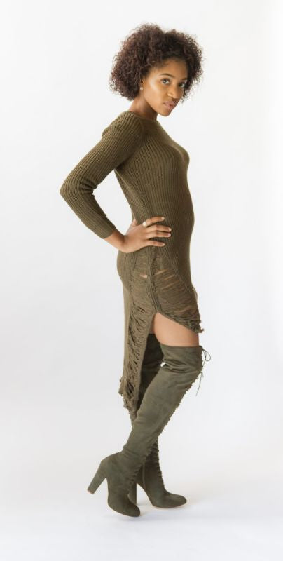 Olive Distressed Hi-Lo Long Sleeve Sweater Dress Dress