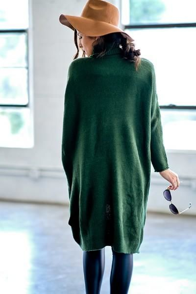 Olive Turtleneck Open Front Sweater Sweater