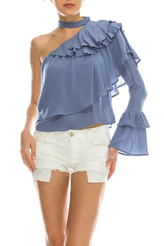 Crisscross Back Ruffle Cold Shoulder Top