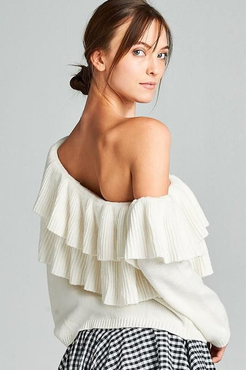 One Shoulder Off White Double Ruffle Sweater S(4-6) Sweater