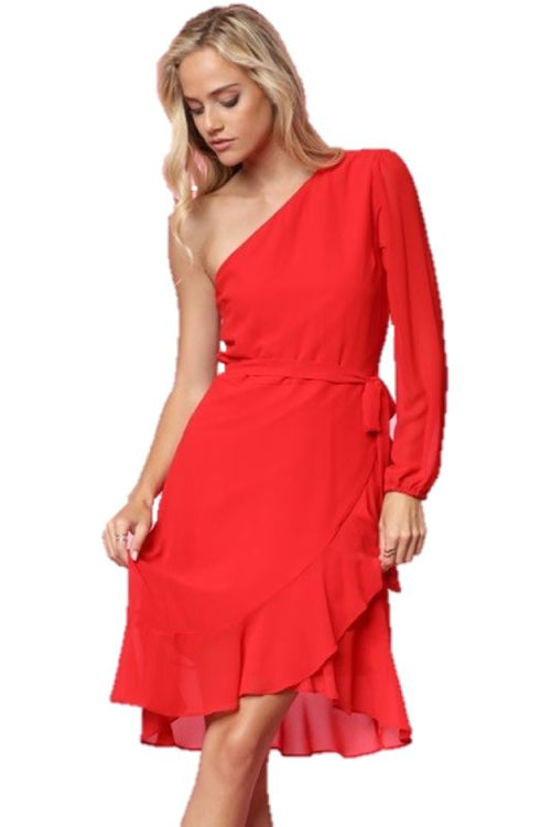 One Shoulder Red Ruffle Wrap Tie Dress S