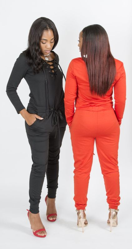 Orange Tie Front Drawstring Jumpsuit S(2-4) Jumpsuit