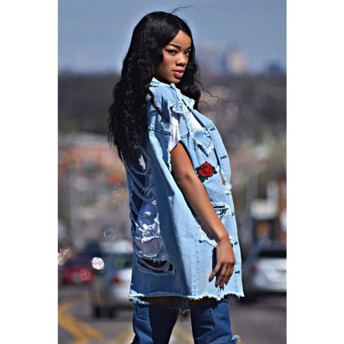 Oversized Distressed Denim Vest With Flower Embroidery Vest