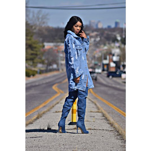 Oversized Distressed Light Denim Jacket Jacket