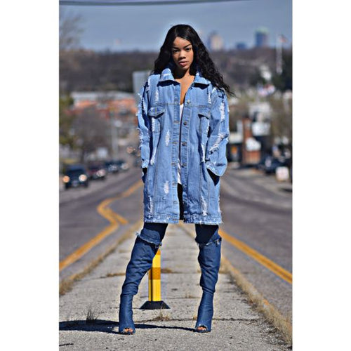 Oversized Distressed Light Denim Jacket Small Jacket