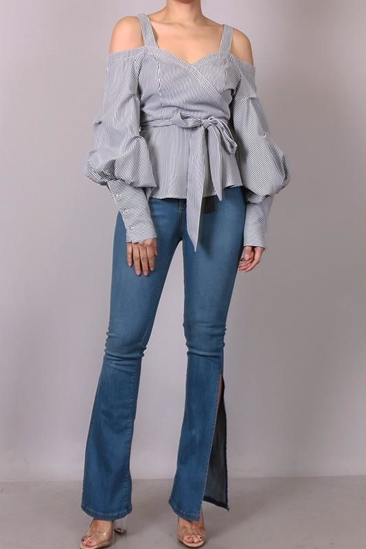 cce5222aa1 Paige Striped Puffy Bubble Sleeve Shirt Blouse – shopslayplay.com