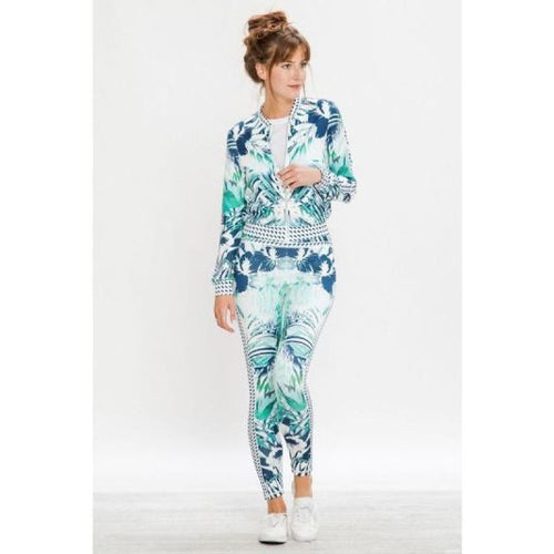 Palm & Lily Print Activewear Jogging Set S Set