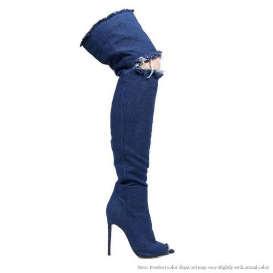 Peep Toe Over Knee Medium Denim Ripped High Heel Boot 5 Shoes