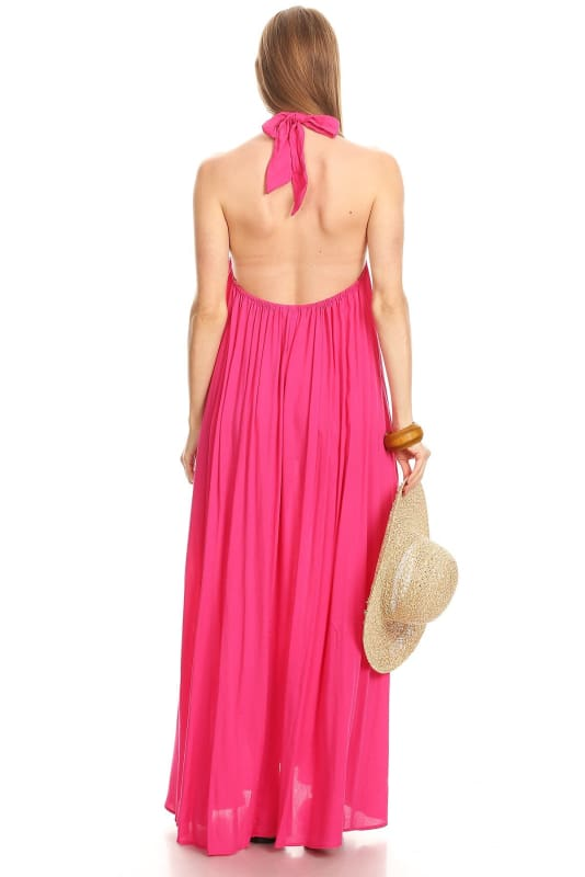 Pretty In Pink Halter Open Back Maxi Sundress Dress