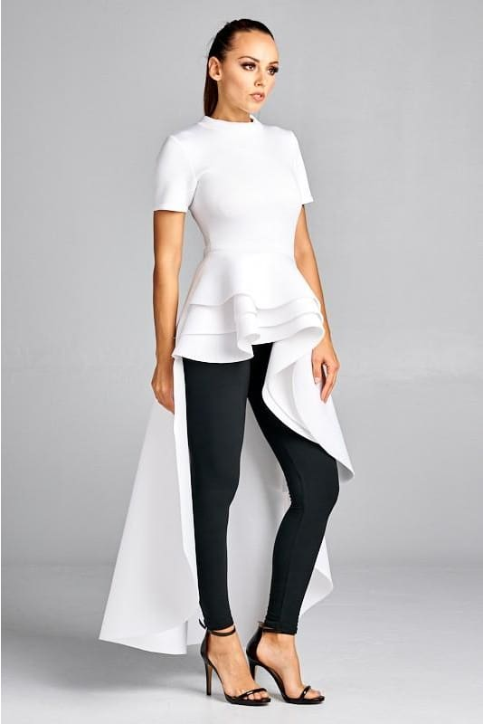 Priscilla White Layered Peplum Asymmetrical Hem Top Top