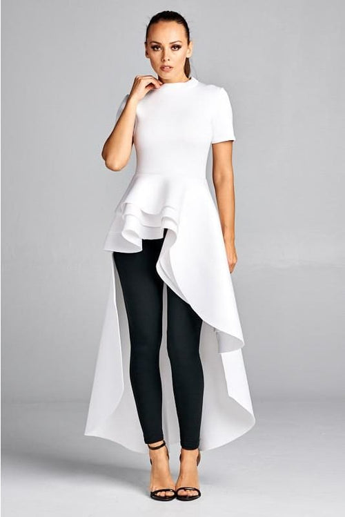 Priscilla White Layered Peplum Asymmetrical Hem Top S(2-4) Top