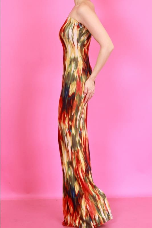 Queen Strapless Olive Tie Dye Maxi Dress Dress